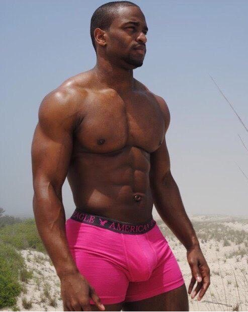handsome, hunk, pink, muscles, sexy black guy
