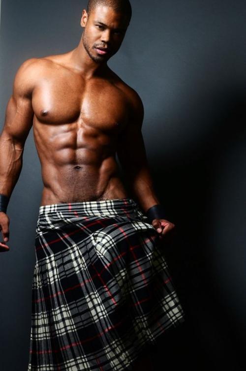 handsome, black man, kilt, abs, muscles, hunk