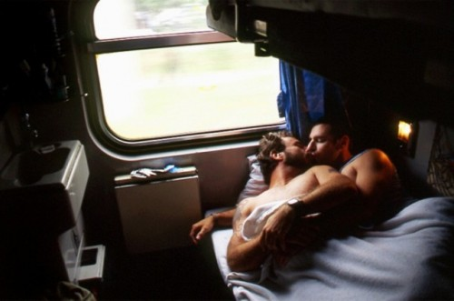 sex on a train, men on a train, men in bed