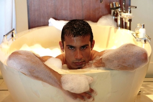 handsome, hunk, man in bath, bath time