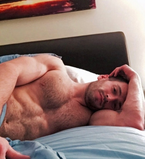 man in bed, handsome, hunk, muscular man