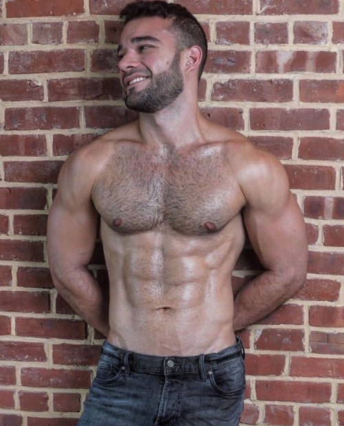 handsome, hairy, muscles, abs