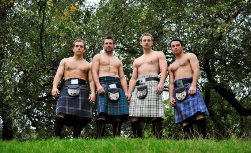 shirtless men in kilts