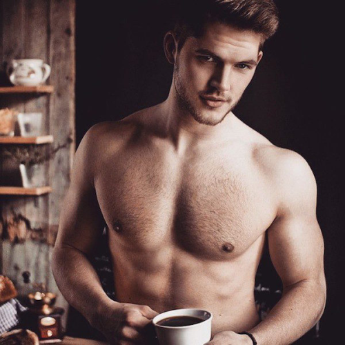 man drinking coffee, handsome, hunk