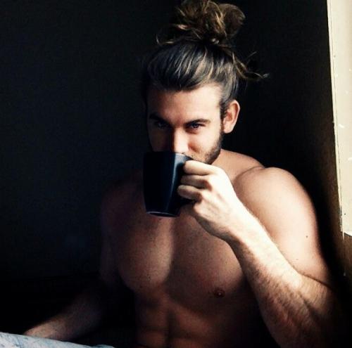 man drinking coffee, handsome, hunk, man bun