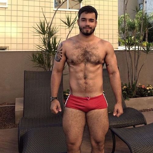 handsome, hunk, hairy, red, speedo