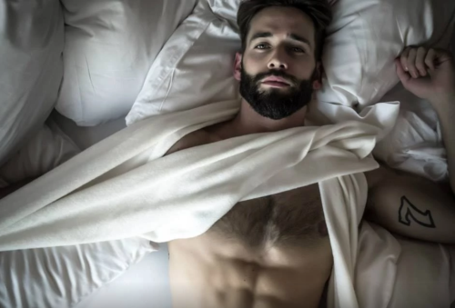 man in bed, handsome, hunk, hairy chest
