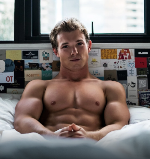 handsome, hunk, man in bed, muscle young man, stud