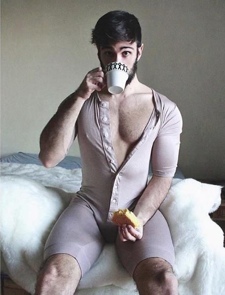 guy in onesie, pajamas, handsome, cute guy