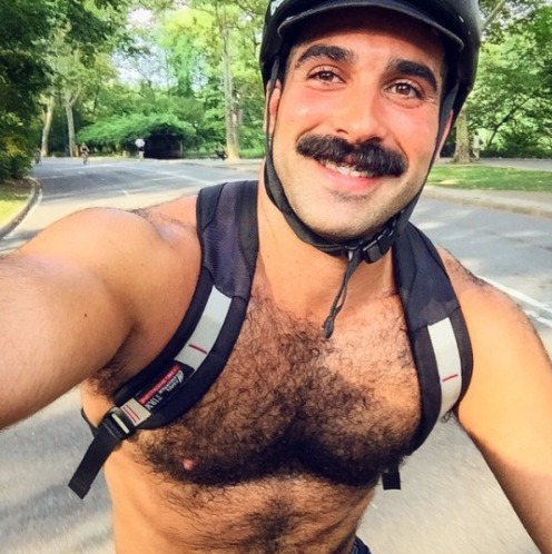 hunk, handsome, hairy, mustache, guy on bike, shirtless guy