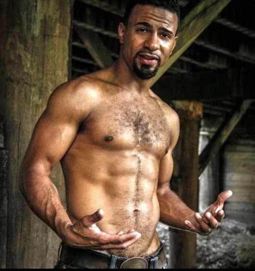 handsome, hunk, hairy, black man, black man without a shirt
