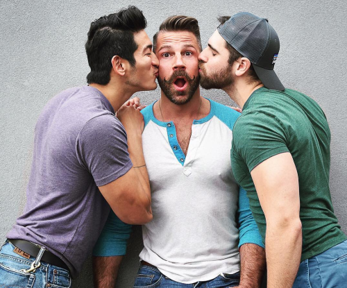 gay, handsome, kissing
