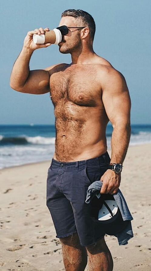 shirtless guy on beach, man drinking coffee, handsome, hunk, muscular guy