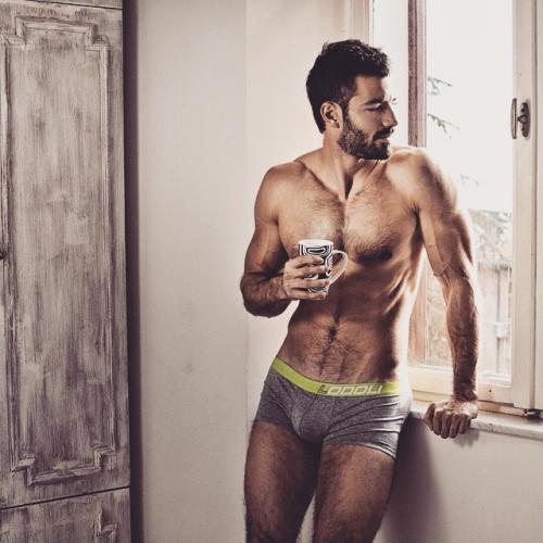 handsome, hunk, shirtless man, man drinking coffee