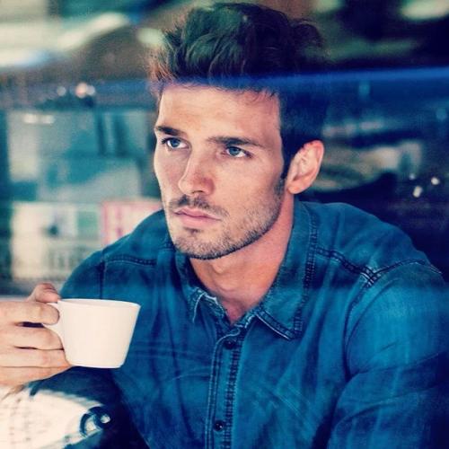 man drinking coffee, handsome, hunk