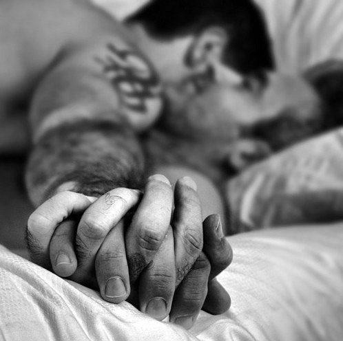 men in bed, love is love