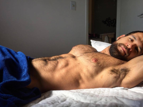 handsome, hunk, hairy, man in bed