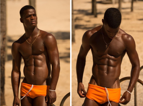 handsome, hunk, orange, speedo, muscular, shirtless black man
