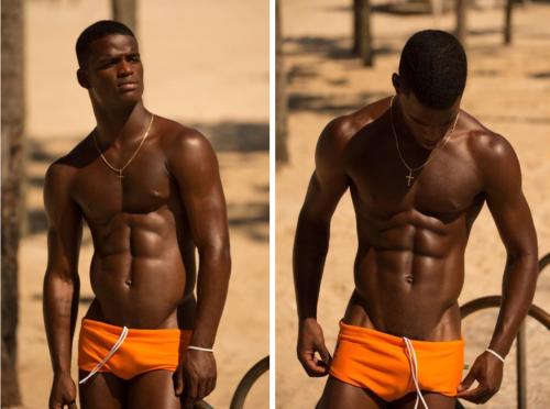 handsome, hunk, orange, speedo, muscular, shirtless black man