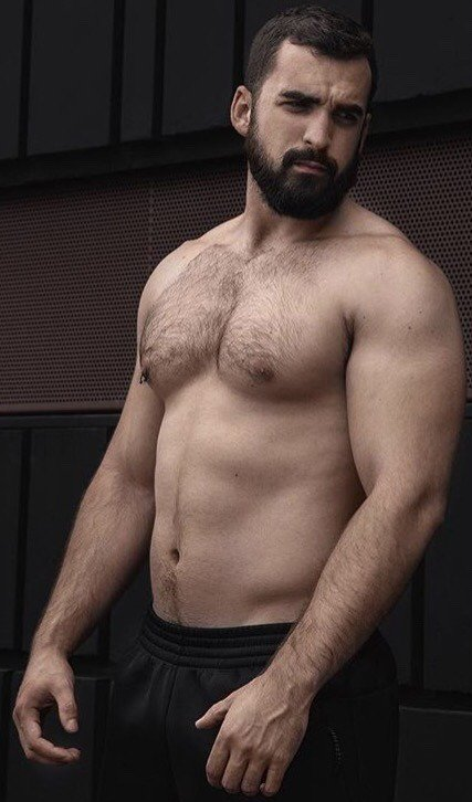 handsome, hunk, shirtless muscular guy, hairy