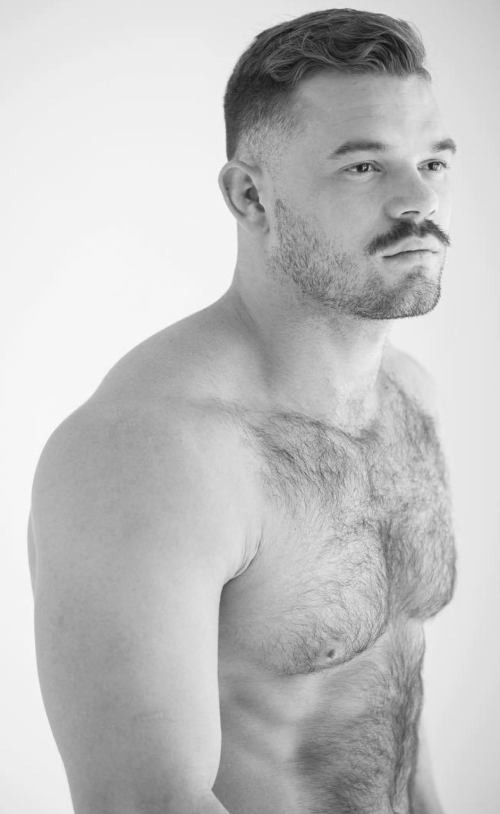 handsome, hairy, hunk, shirtless guy, mustache
