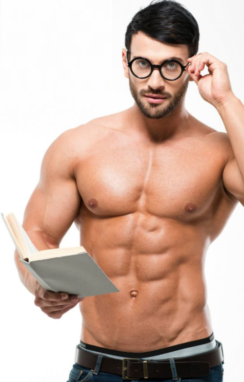 shirtless guy, man with glasses, reading, book