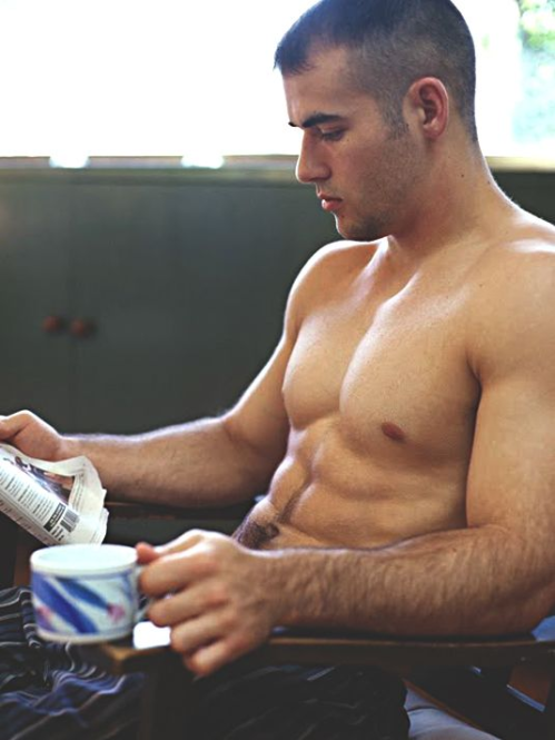 sexy guy reading the paper, shirtless guy with coffee