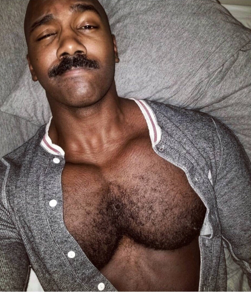handsome, hunk, hairy black man, mustache