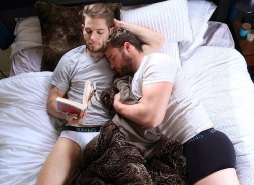 men in bed, gay couple in bed