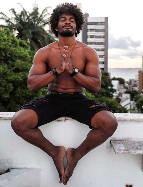handsome, hunk, namaste, sexy black guy