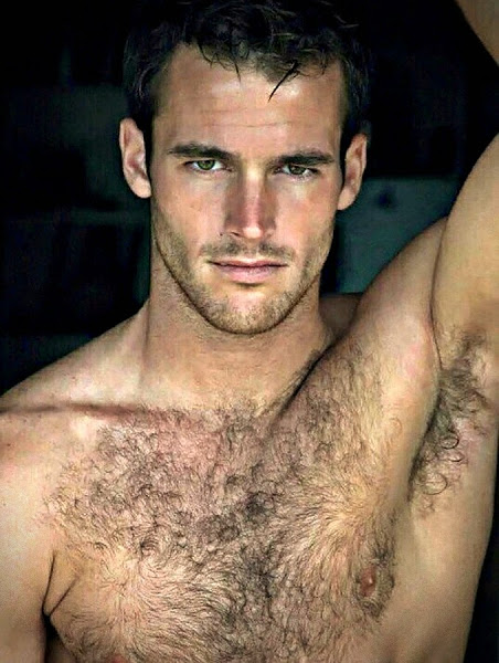 hairy chest man, sweaty guy