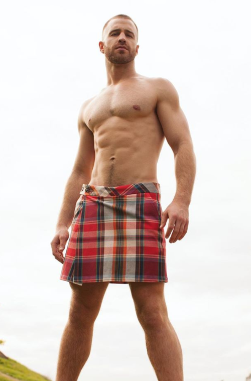 shirtless hunk in a kilt, handsome