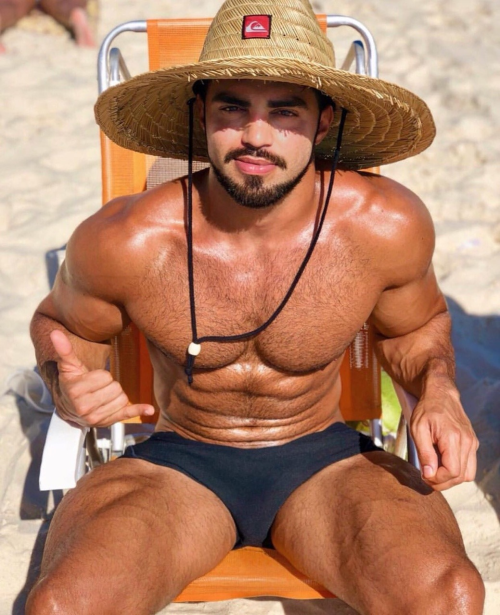 handsome guy, hairy guy, handsome latino, blue speedo