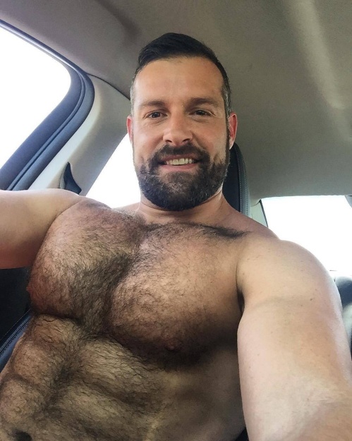handsome, hunk, shirtless driver