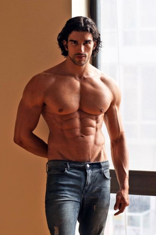 handsome, men in jeans, shirtless hunk