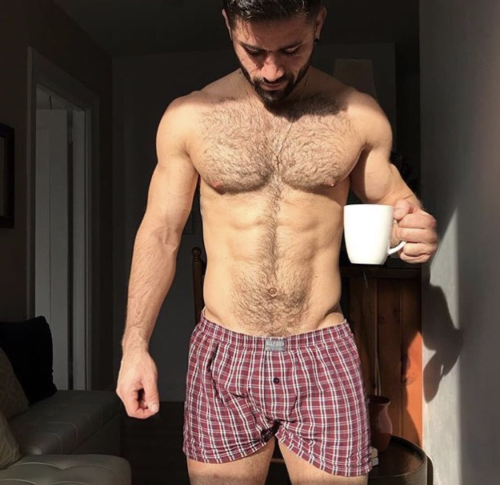 guy drinking coffee, guy in boxers, hunk, hairy
