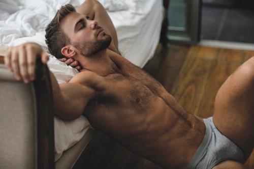 handsome, hunk, man wearing underwear, sexy guy in bed