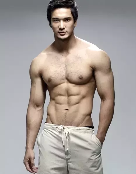 handsome, shirtless guy, muscular asian guy, asian hunk