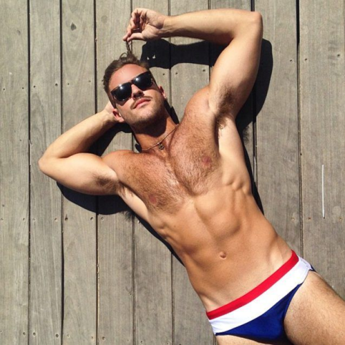 handsome, hunk, hairy, guy in a speedo