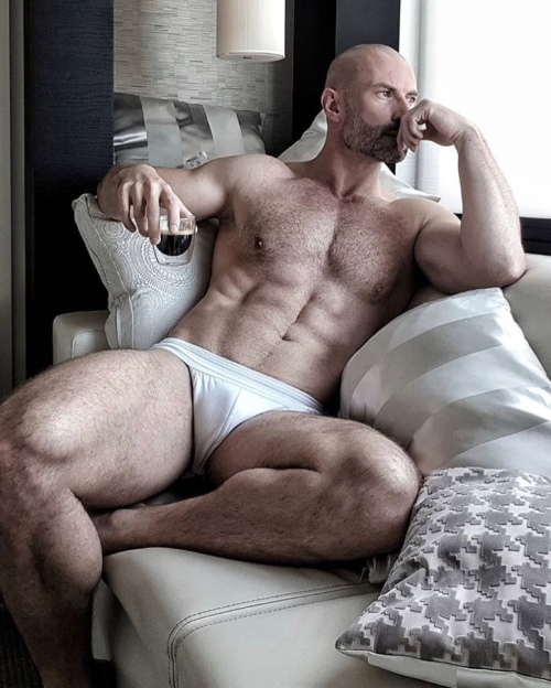 davor garic, handsome, hunk, shaved head, muscular guy, guy wearing underwear, shirtless guy