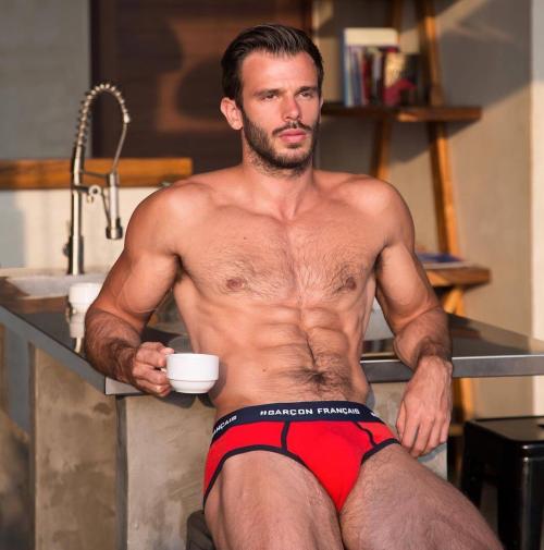jean killian, handsome, hunk, hairy guy, red underwear