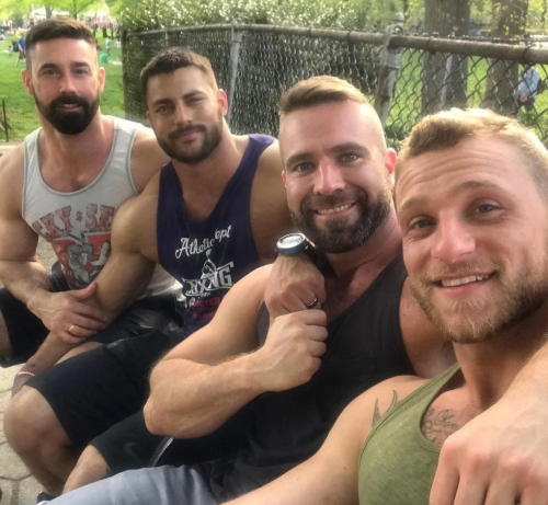 men, guys hanging out, beards and muscles