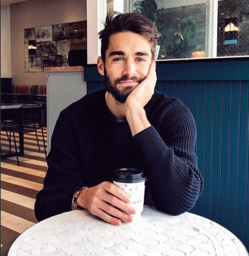handsome, hunk, man drinking coffee