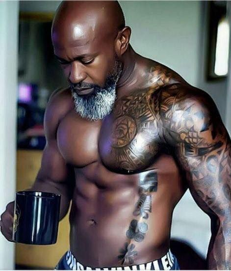 strong black man, muscular black man