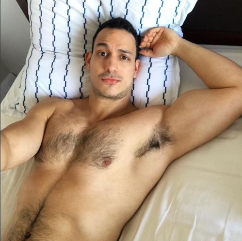 shirtless guy in bed, handsome, hunk, hairy chest