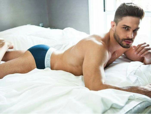 handsome man in bed, hunk
