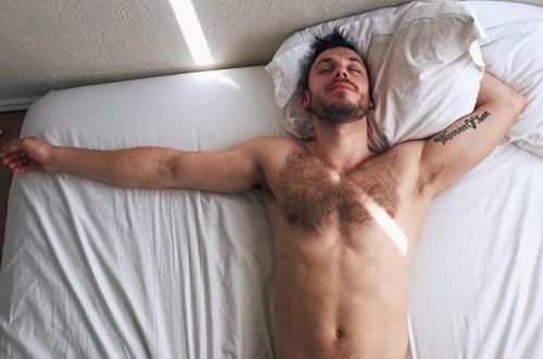 man in bed, man sleeping