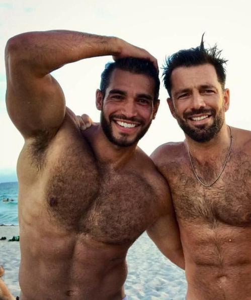 handsome, hunk, men on a beach, hairy men, muscular men