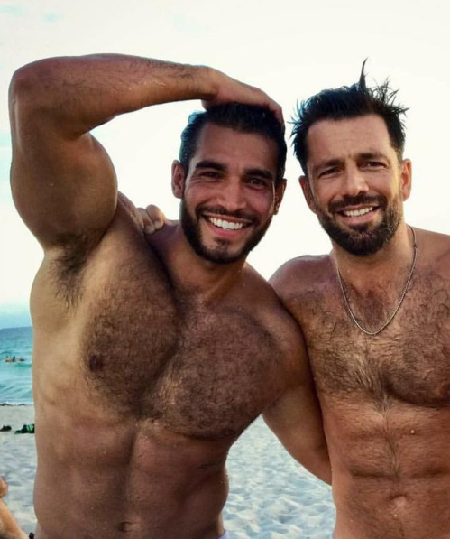handsome, hunk, men on a beach, hairy men, muscular men