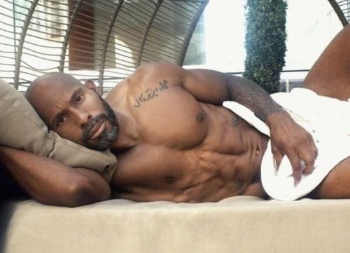 handsome man in bed, black man in bed, handsome black man